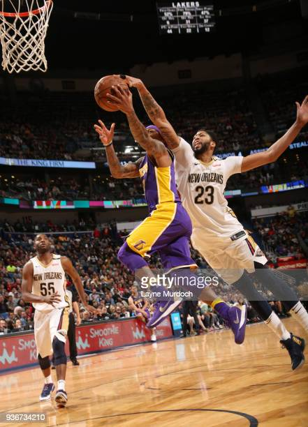 Anthony Davis of the New Orleans Pelicans blocks the shot against Isaiah Thomas of the Los Angeles Lakers on March 22 2018 at Smoothie King Center in...