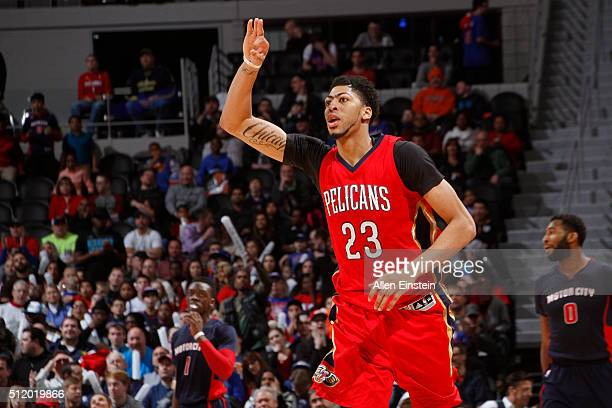 Anthony Davis of the New Orleans Pelicans celebrates a three point basket against the Detroit Pistons on February 21 2016 at The Palace of Auburn...