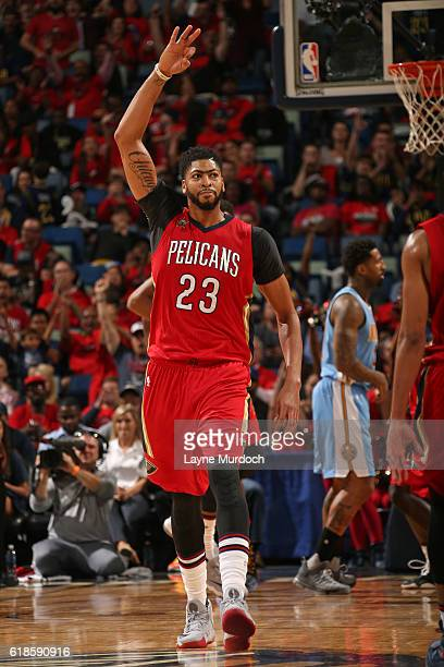 Anthony Davis of the New Orleans Pelicans celebrates a three point basket against the Denver Nuggets on October 26 2016 at the Smoothie King Center...