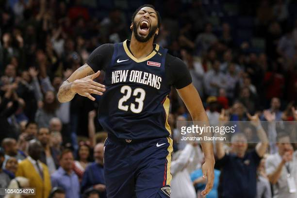 Anthony Davis of the New Orleans Pelicans celebrates after a game against the Brooklyn Nets at the Smoothie King Center on October 26 2018 in New...
