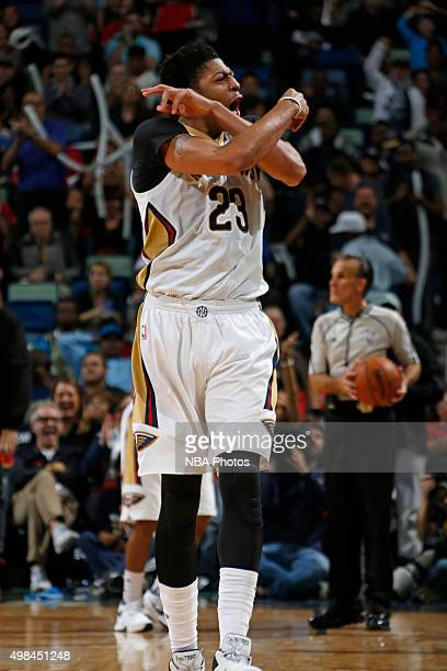 Anthony Davis of the New Orleans Pelicans celebrates during the game against the San Antonio Spurs on November 20 2015 at the Smoothie King Center in...