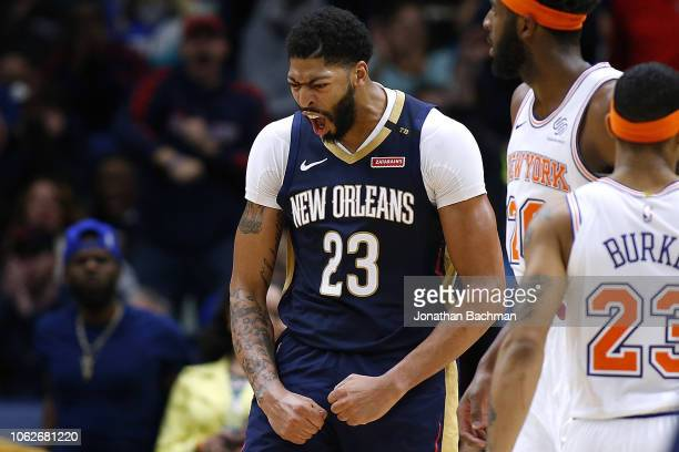 Anthony Davis of the New Orleans Pelicans celebrates during the second half against the New York Knicks at the Smoothie King Center on November 16...