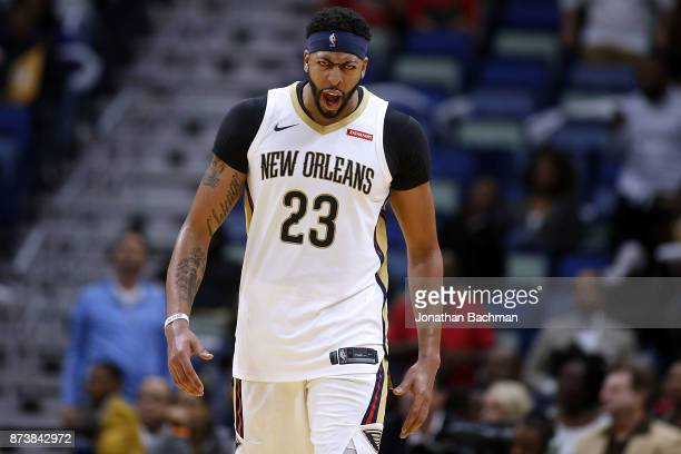 Anthony Davis of the New Orleans Pelicans celebrates during the second half of a game against the Atlanta Hawks at the Smoothie King Center on...