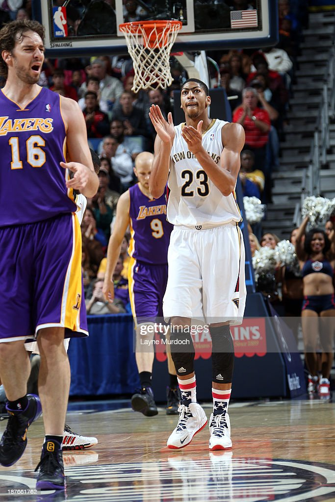Anthony Davis #23 of the New Orleans Pelicans claps against the Los Angeles Lakers on November 8, 2013 at the New Orleans Arena in New Orleans, Louisiana.
