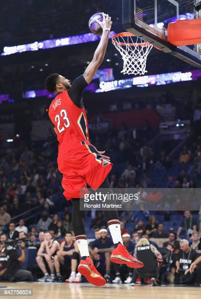 Anthony Davis of the New Orleans Pelicans competes in the 2017 Taco Bell Skills Challenge at Smoothie King Center on February 18 2017 in New Orleans...