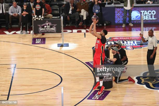 Anthony Davis of the New Orleans Pelicans competes in the Taco Bell Skills Challenge during State Farm AllStar Saturday Night as part of the 2017 NBA...