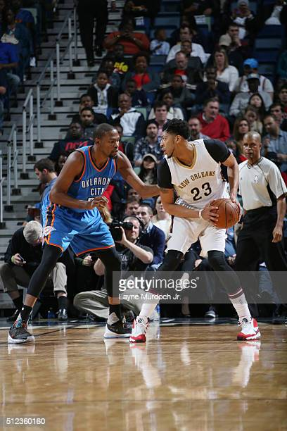 Anthony Davis of the New Orleans Pelicans defends the ball against Kevin Durant of the Oklahoma City Thunder during the game on February 25 2016 at...
