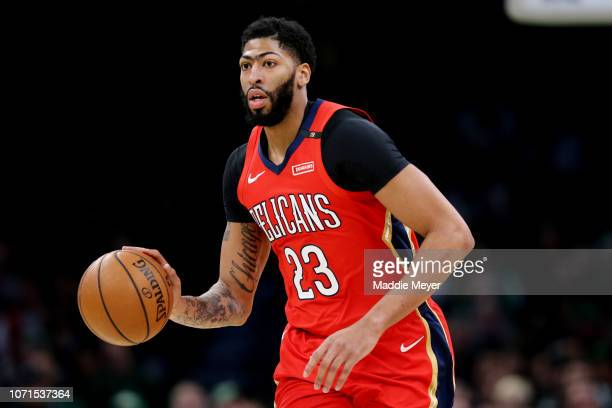 Anthony Davis of the New Orleans Pelicans dribbles against the Boston Celtics at TD Garden on December 10 2018 in Boston Massachusetts