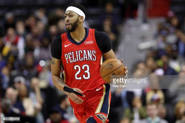 Anthony Davis of the New Orleans Pelicans dribbles the ball against the Washington Wizards in the first half at Capital One Arena on December 19 2017...