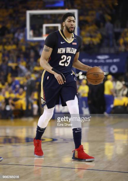 Anthony Davis of the New Orleans Pelicans dribbles with the ball against the Golden State Warriors during Game Five of the Western Conference...