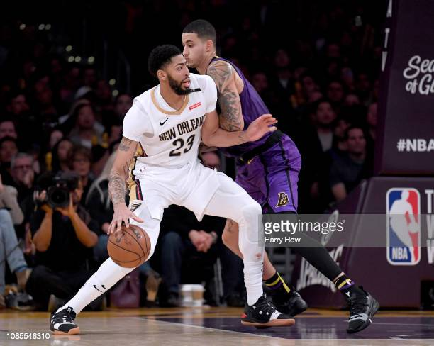 Anthony Davis of the New Orleans Pelicans drives on Kyle Kuzma of the Los Angeles Lakers during a 112104 Laker win at Staples Center on December 21...