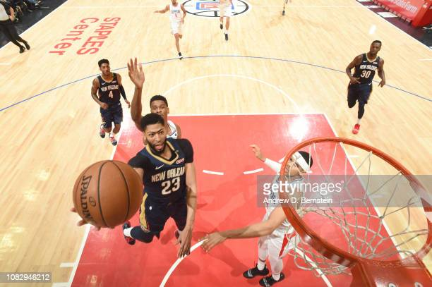 Anthony Davis of the New Orleans Pelicans drives through the paint during the game against the LA Clippers on January 14 2019 at STAPLES Center in...
