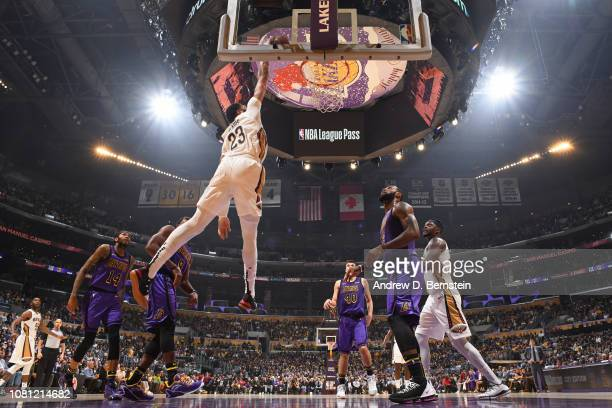 Anthony Davis of the New Orleans Pelicans drives to the basket during the game against the Los Angeles Lakers on December 21 2018 at STAPLES Center...