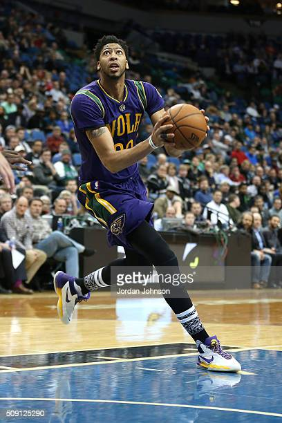 Anthony Davis of the New Orleans Pelicans drives to the basket during the game against the Minnesota Timberwolves on February 8 2016 at Target Center...