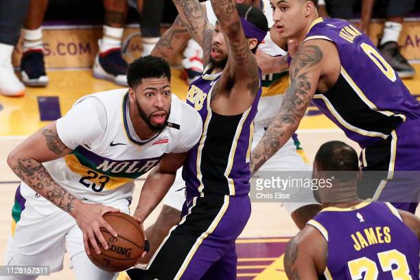 Anthony Davis of the New Orleans Pelicans drives to the basket against the Los Angeles Lakers on February 27 2019 at STAPLES Center in Los Angeles...