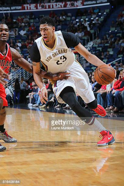Anthony Davis of the New Orleans Pelicans drives to the basket against the Portland Trail Blazers during the game on March 18 2016 at Smoothie King...
