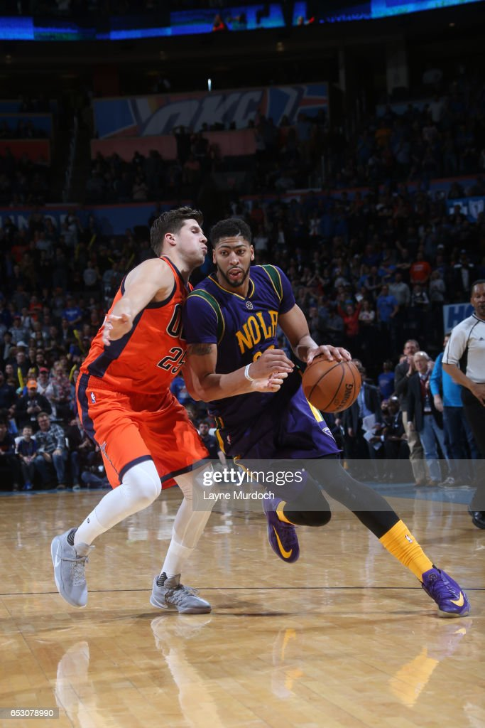 Anthony Davis #23 of the New Orleans Pelicans drives to the basket against the Oklahoma City Thunder on February 26, 2017 at the Chesapeake Energy Arena in Oklahoma City, Oklahoma.