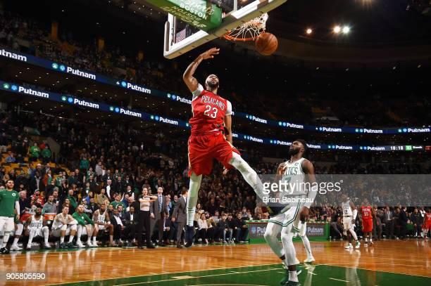 Anthony Davis of the New Orleans Pelicans dunks against the Boston Celtics on January 16 2018 at the TD Garden in Boston Massachusetts Anthony Davis...