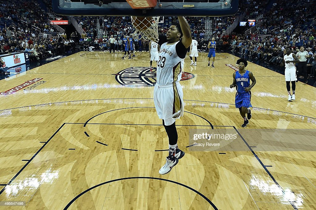 Anthony Davis #23 of the New Orleans Pelicans dunks during the first half of a game against the Orlando Magic at the Smoothie King Center on November 3, 2015 in New Orleans, Louisiana.
