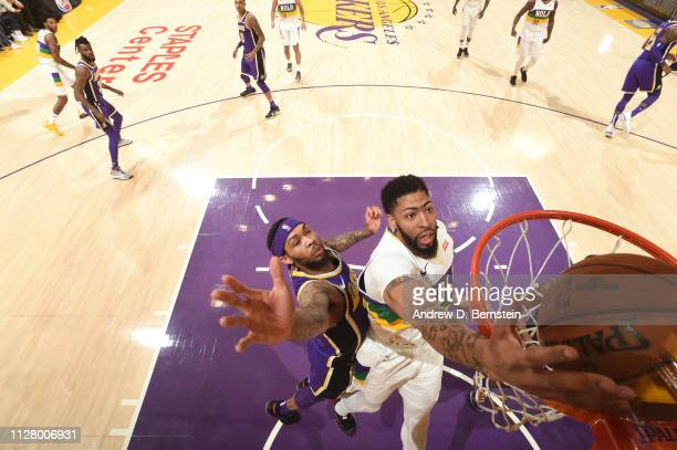 Anthony Davis of the New Orleans Pelicans dunks the ball against the Los Angeles Lakers on February 27 2019 at STAPLES Center in Los Angeles...