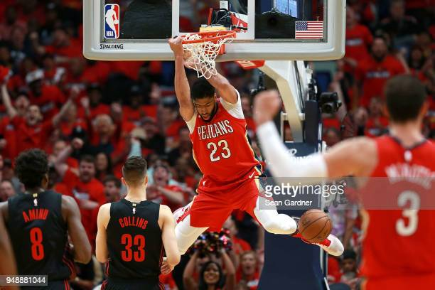 Anthony Davis of the New Orleans Pelicans dunks the ball against the Portland Trail Blazers during Game 3 of the Western Conference playoffs against...