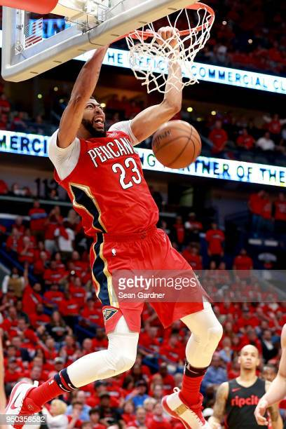 Anthony Davis of the New Orleans Pelicans dunks the ball during Game 3 of the Western Conference playoffs against the Portland Trail Blazers at the...