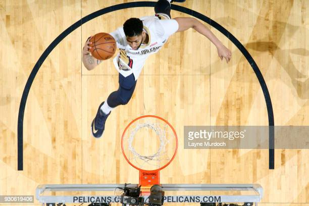 Anthony Davis of the New Orleans Pelicans dunks the ball during the game against the Utah Jazz on March 11 2018 at the Smoothie King Center in New...
