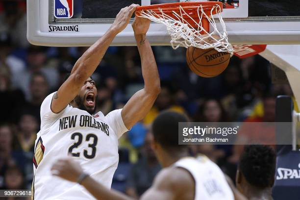 Anthony Davis of the New Orleans Pelicans dunks the ball during the second half against the Los Angeles Lakers at the Smoothie King Center on March...