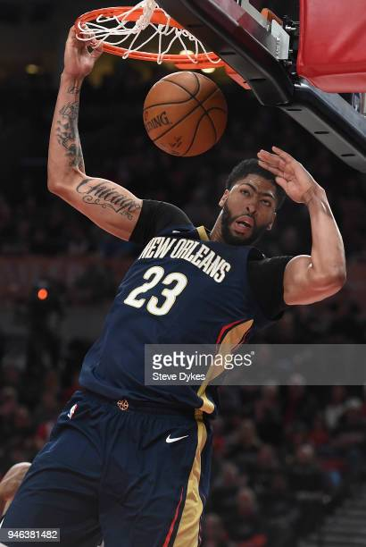 Anthony Davis of the New Orleans Pelicans dunks the ball during the first quarter of game one of the the first round of the 2018 NBA Playoffs at the...