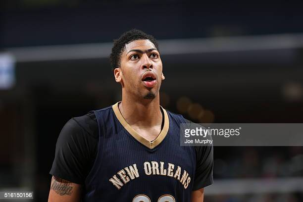 Anthony Davis of the New Orleans Pelicans during the game against the Memphis Grizzlies during the game on March 9 2016 at FedExForum in Memphis...