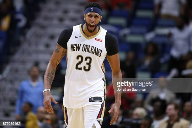 Anthony Davis of the New Orleans Pelicans during the second half of a game against the Atlanta Hawks at the Smoothie King Center on November 13 2017...