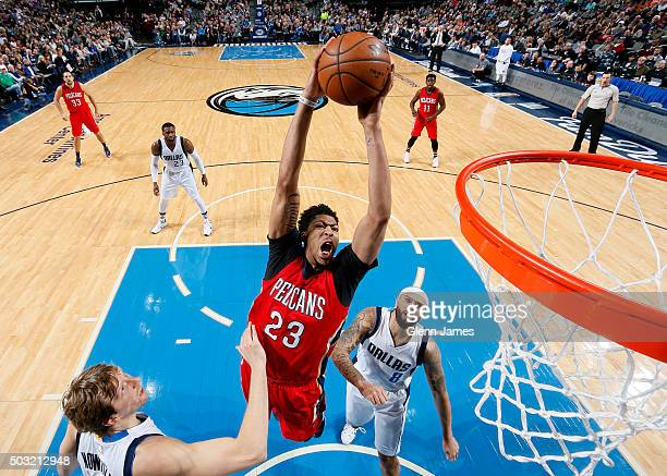 Anthony Davis of the New Orleans Pelicans flies in for the dunk against the Dallas Mavericks on January 2 2016 at the American Airlines Center in...