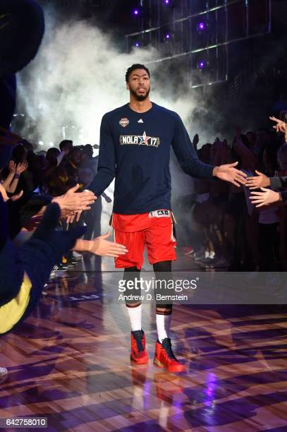 e3bec801c Anthony Davis of the New Orleans Pelicans gets introduced before the Taco  Bell Skills Challenge during