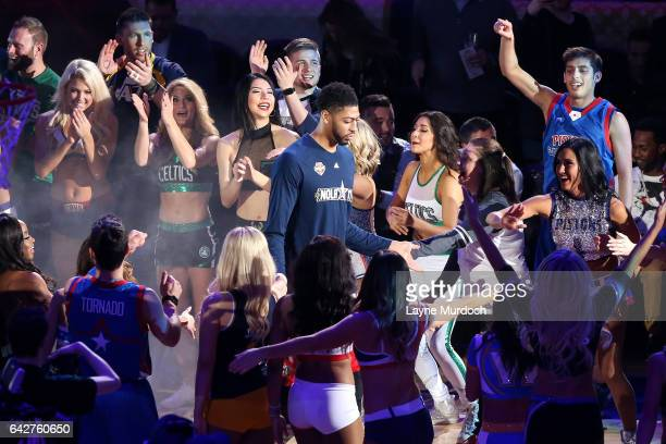 f84215798 Anthony Davis of the New Orleans Pelicans gets introduced during the Taco  Bell Skills Challenge during