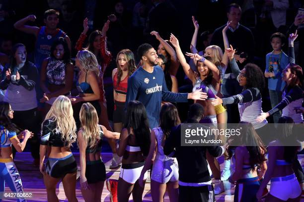 Anthony Davis of the New Orleans Pelicans gets introduced during the Taco  Bell Skills Challenge during 699aaf4e0