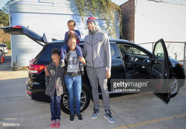 Anthony Davis of the New Orleans Pelicans gives a car and Christmas gifts to an unsuspecting family on December 14, 2017 at the Kingsley House...
