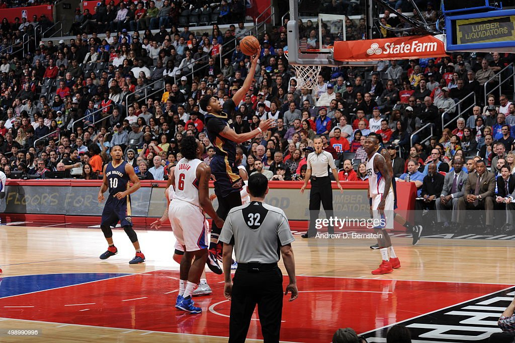 Anthony Davis #23 of the New Orleans Pelicans goes to the basket against the Los Angeles Clippers on November 27, 2015 at STAPLES Center in Los Angeles, California.