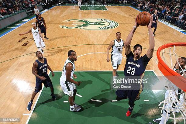 Anthony Davis of the New Orleans Pelicans goes to the basket against the Milwaukee Bucks on March 12 2016 at the BMO Harris Bradley Center in...