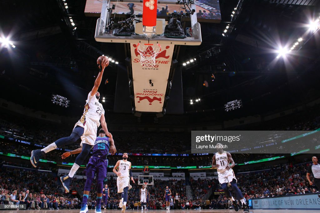 Anthony Davis #23 of the New Orleans Pelicans goes to the basket against the Charlotte Hornets on March 13, 2018 at Smoothie King Center in New Orleans, Louisiana.