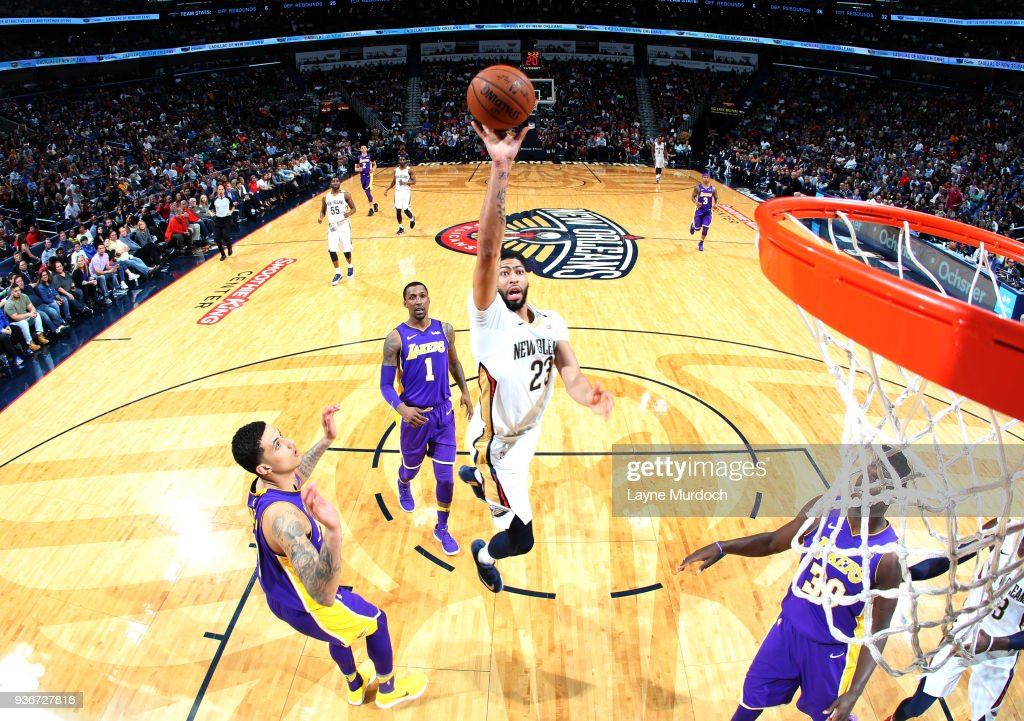 Anthony Davis Of The New Orleans Pelicans Goes To The Basket