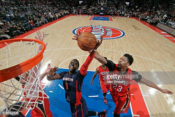 Anthony Davis of the New Orleans Pelicans goes up for a rebound against Reggie Jackson of the Detroit Pistons on February 21 2016 at The Palace of...