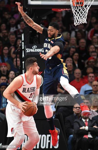Anthony Davis of the New Orleans Pelicans goes up to try and block the shot of Jusuf Nurkic of the Portland Trail Blazers during the first quarter of...