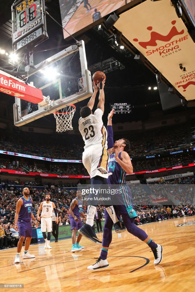 Anthony Davis #23 of the New Orleans Pelicans grabs a rebound against the Charlotte Hornets on March 13, 2018 at Smoothie King Center in New Orleans, Louisiana.