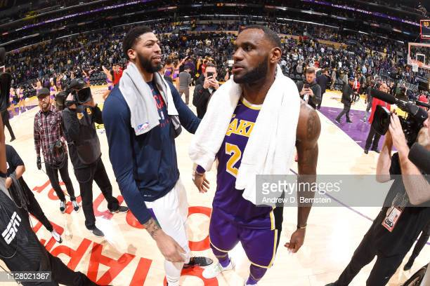 Anthony Davis of the New Orleans Pelicans greets LeBron James of the Los Angeles Lakers after the game on February 27 2019 at STAPLES Center in Los...
