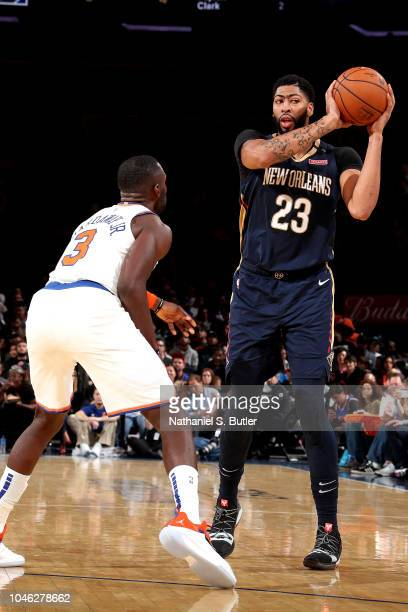 Anthony Davis of the New Orleans Pelicans handles the ball against the New York Knicks during a preseason game on October 5 2018 at Madison Square...