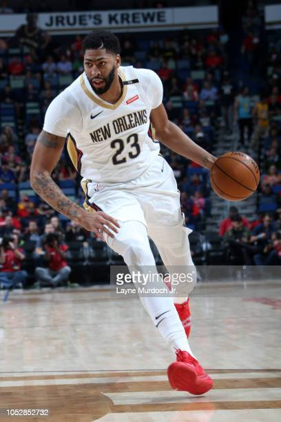 Anthony Davis of the New Orleans Pelicans handles the ball against the LA Clippers on October 23 2018 at Smoothie King Center in New Orleans...