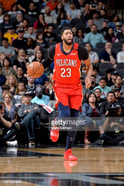 Anthony Davis of the New Orleans Pelicans handles the ball against the San Antonio Spurs on November 3 2018 at the ATT Center in San Antonio Texas...