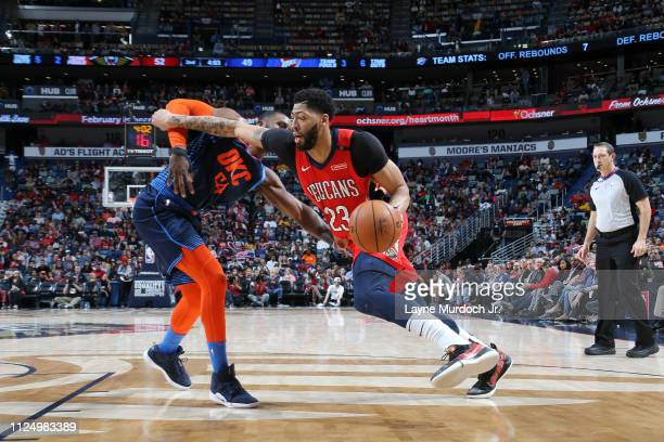 Anthony Davis of the New Orleans Pelicans handles the ball against the Oklahoma City Thunder on February 14 2019 at the Smoothie King Center in New...