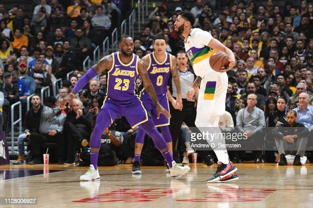 Anthony Davis of the New Orleans Pelicans handles the ball against the Los Angeles Lakers on February 27 2019 at STAPLES Center in Los Angeles...