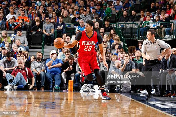 Anthony Davis of the New Orleans Pelicans handles the ball against the Dallas Mavericks on January 2 2016 at the American Airlines Center in Dallas...